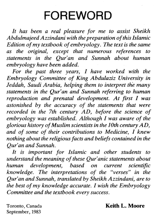 Forward by Keith L. Moore to The Developing Human with Islamic Additions.